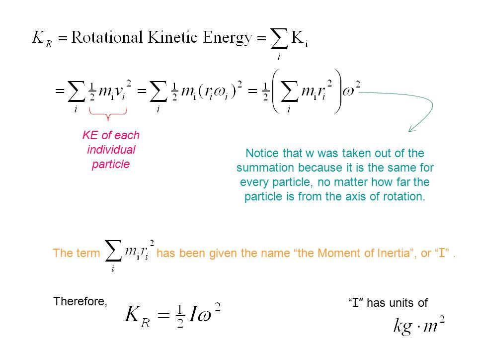KE of each individual particle