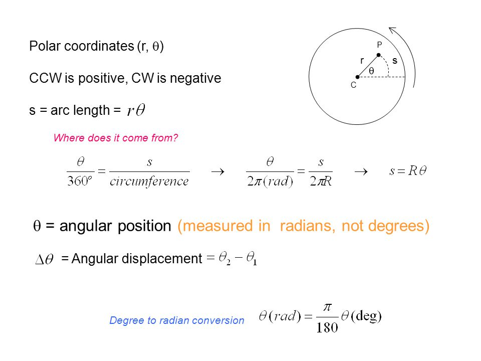 q = angular position (measured in radians, not degrees)