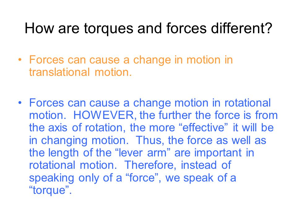 How are torques and forces different