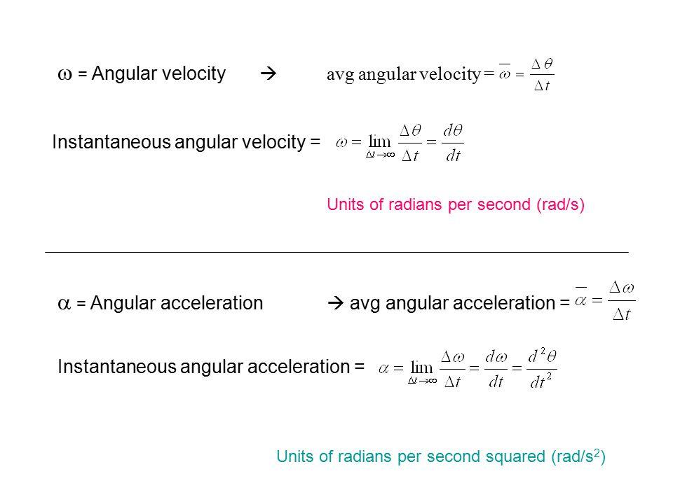 w = Angular velocity  avg angular velocity =