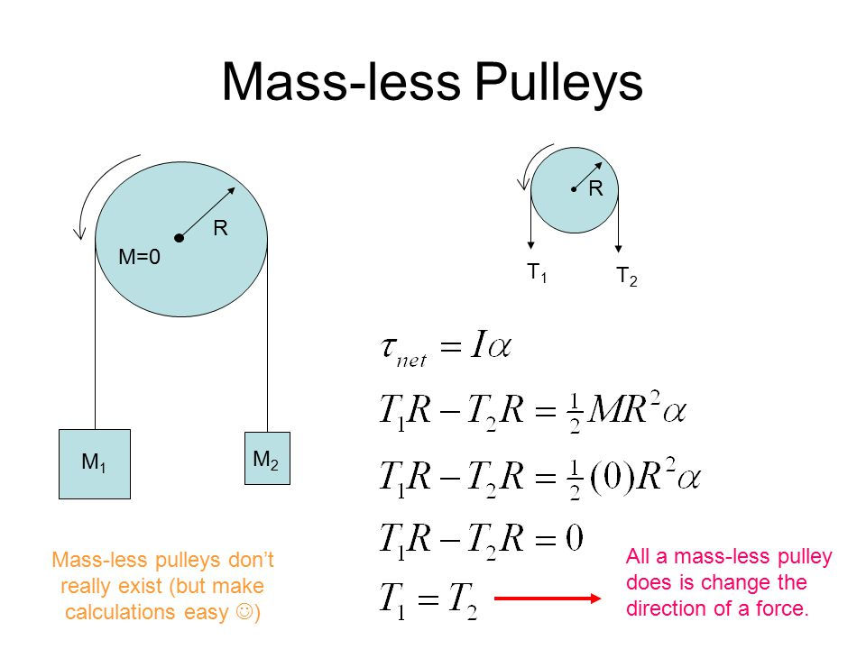 Mass-less pulleys don't really exist (but make calculations easy )