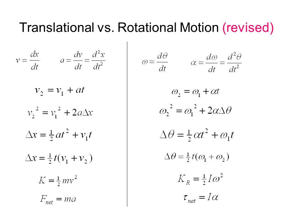 Translational vs. Rotational Motion (revised)