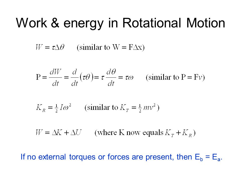 Work & energy in Rotational Motion