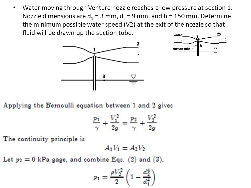 Water moving through Venture nozzle reaches a low pressure at section 1.