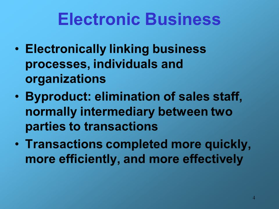 Electronic Business Electronically linking business processes, individuals and organizations.