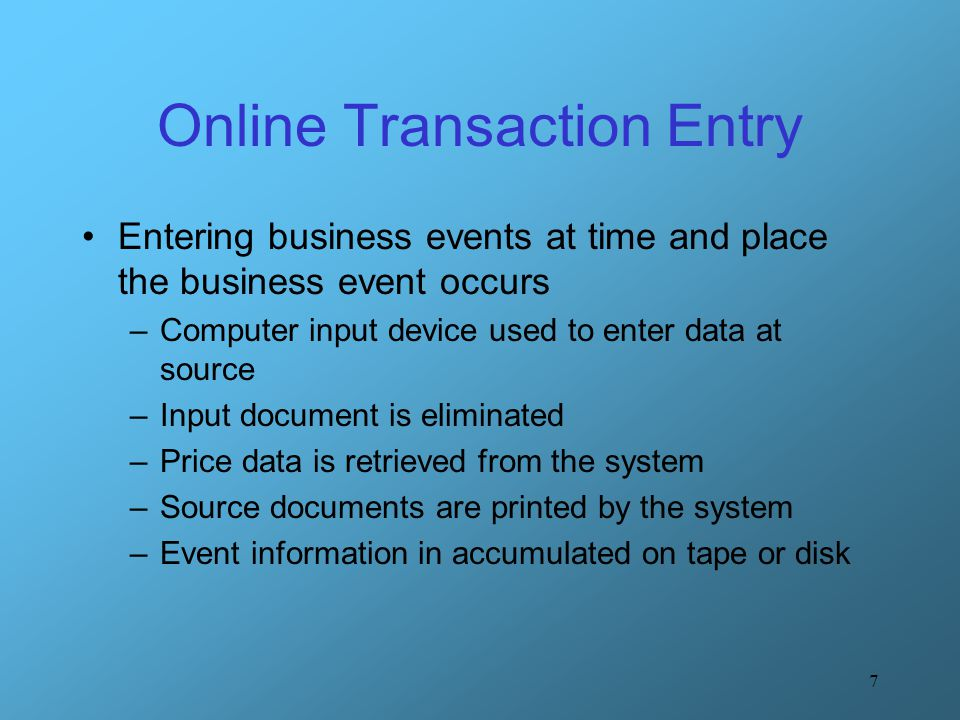 Online Transaction Entry