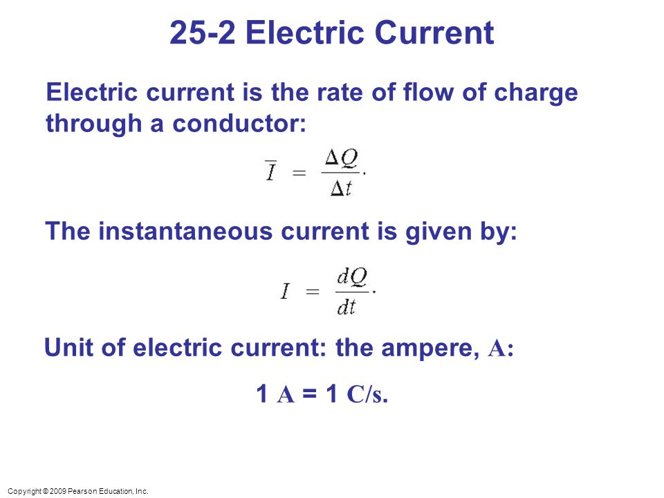 Unit of electric current: the ampere, A: