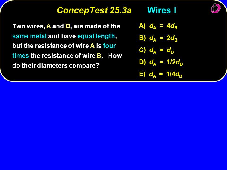 ConcepTest 25.3a Wires I A) dA = 4dB