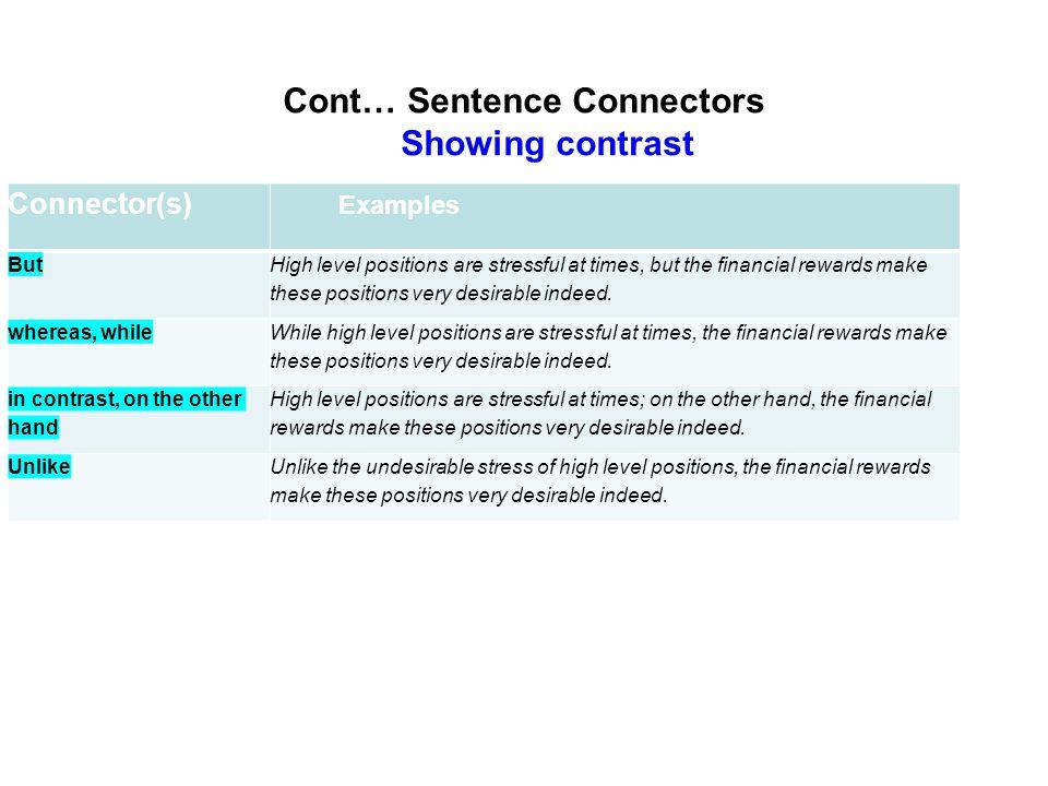 Cont… Sentence Connectors Showing contrast