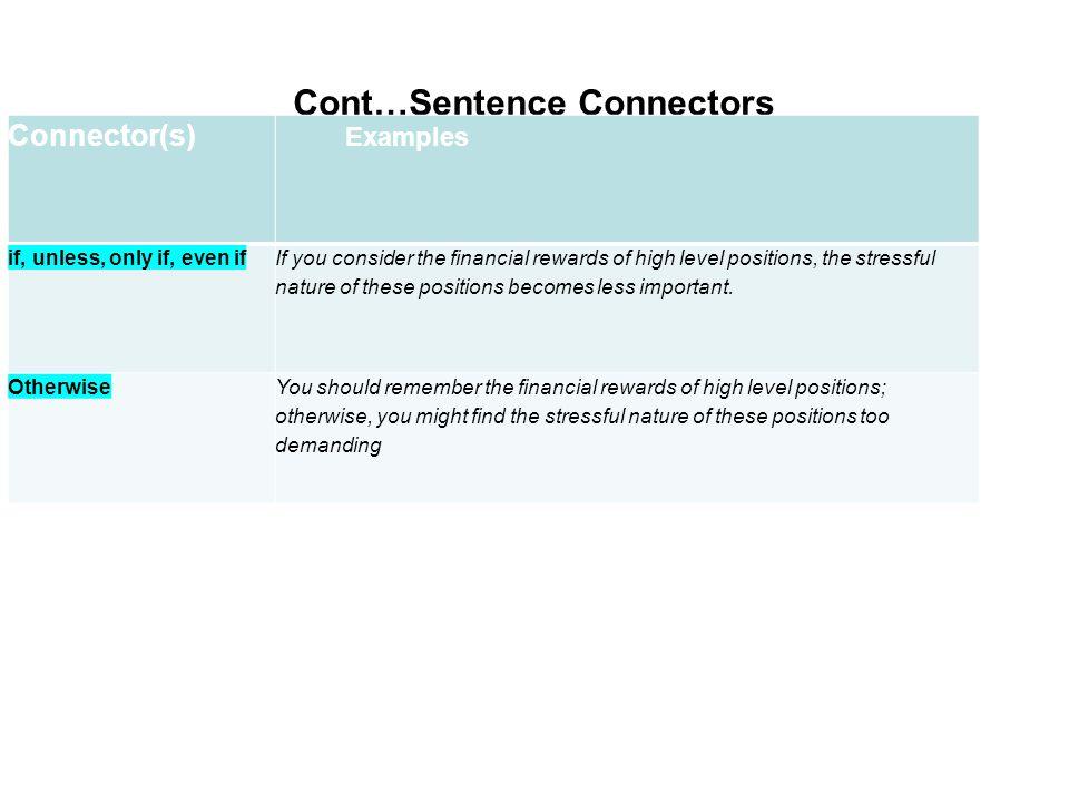 Cont…Sentence Connectors Showing condition