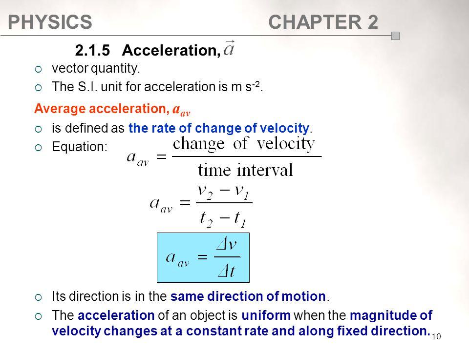 2.1.5 Acceleration, vector quantity.