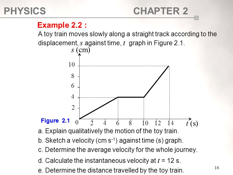 SF017 Example 2.2 : A toy train moves slowly along a straight track according to the displacement, s against time, t graph in Figure 2.1.