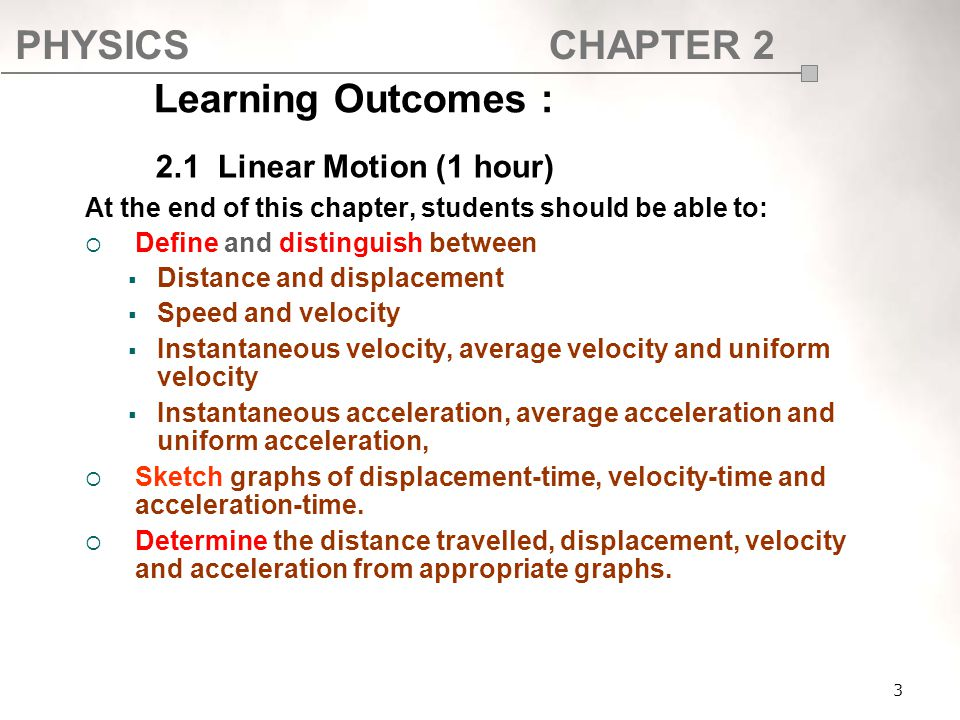 Learning Outcomes : 2.1 Linear Motion (1 hour)