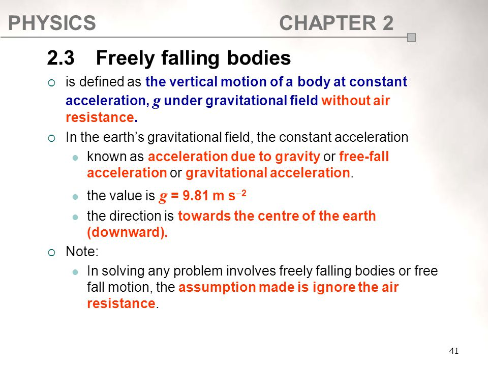 SF017 2.3 Freely falling bodies.