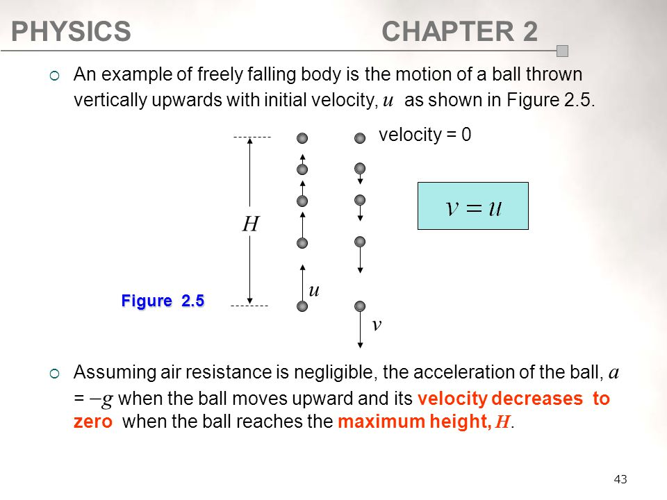 SF017 An example of freely falling body is the motion of a ball thrown vertically upwards with initial velocity, u as shown in Figure 2.5.