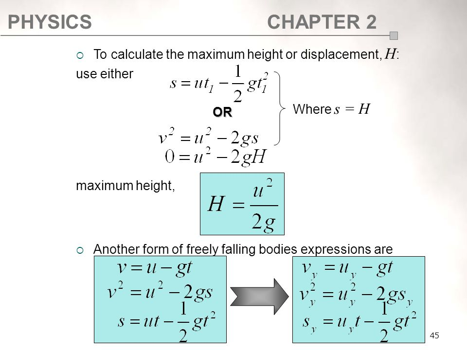 To calculate the maximum height or displacement, H: use either