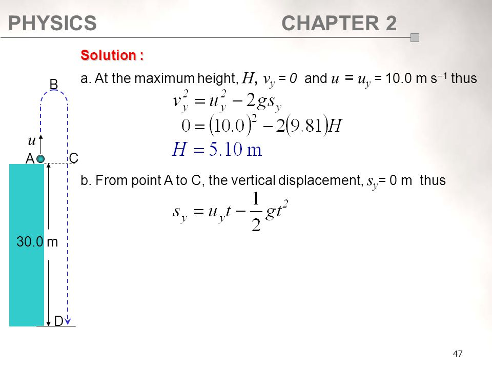 SF017 Solution : a. At the maximum height, H, vy = 0 and u = uy = 10.0 m s1 thus. b. From point A to C, the vertical displacement, sy= 0 m thus.