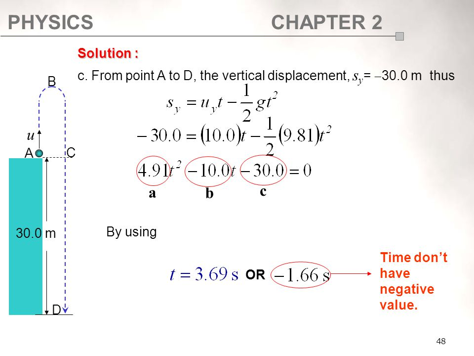SF017 Solution : c. From point A to D, the vertical displacement, sy= 30.0 m thus. By using. A.