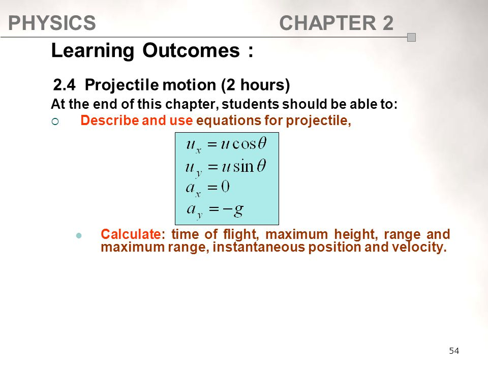 Learning Outcomes : 2.4 Projectile motion (2 hours)