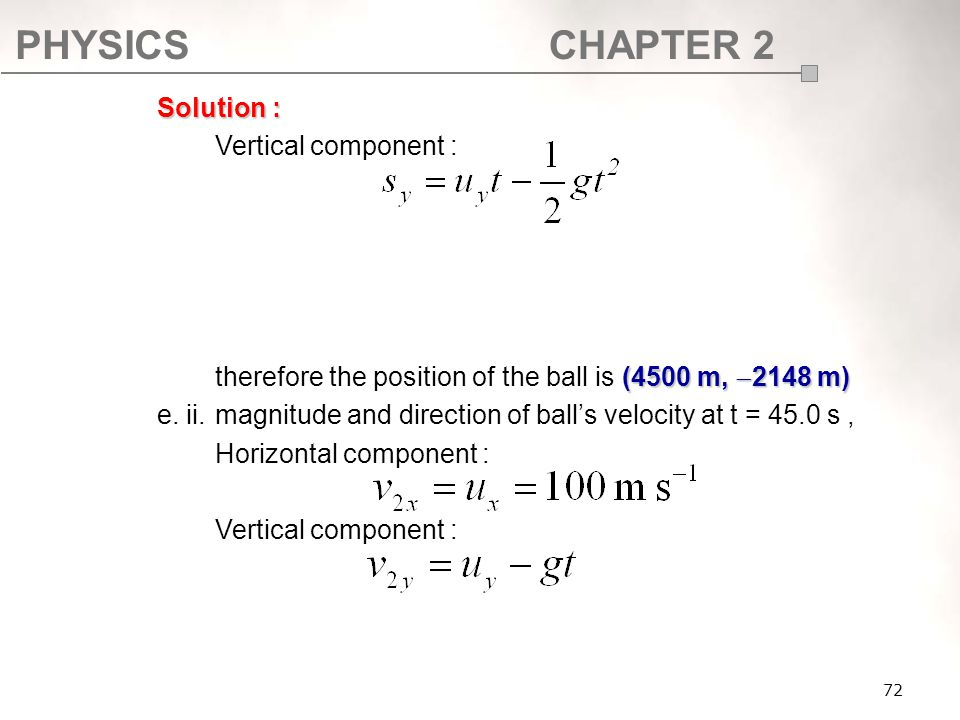 therefore the position of the ball is (4500 m, 2148 m)