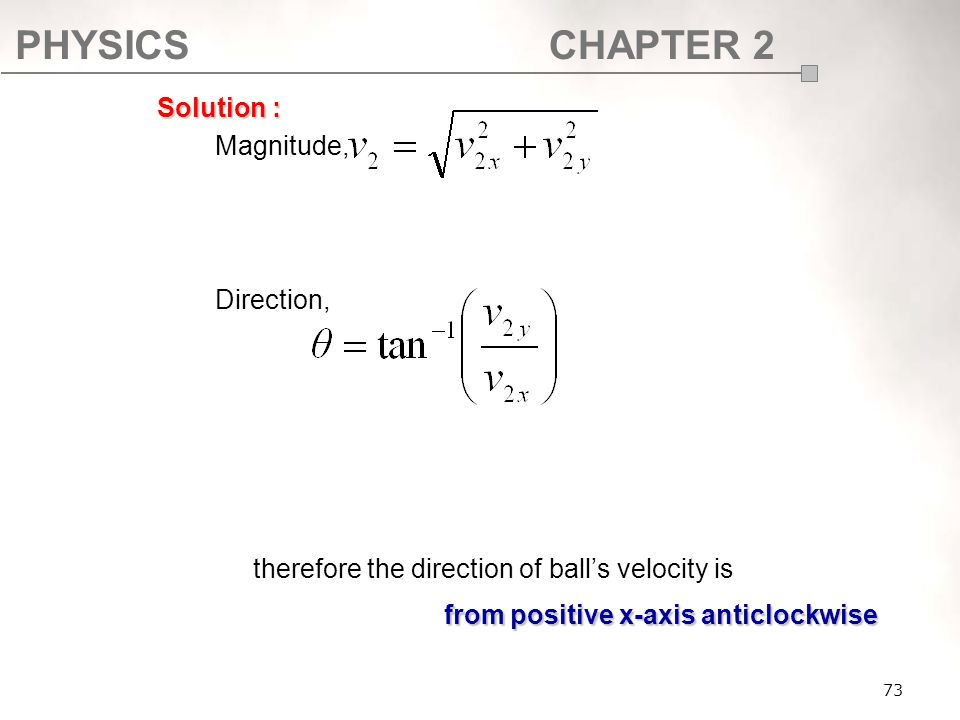 therefore the direction of ball's velocity is