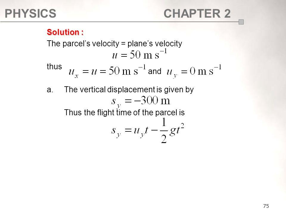 The parcel's velocity = plane's velocity thus