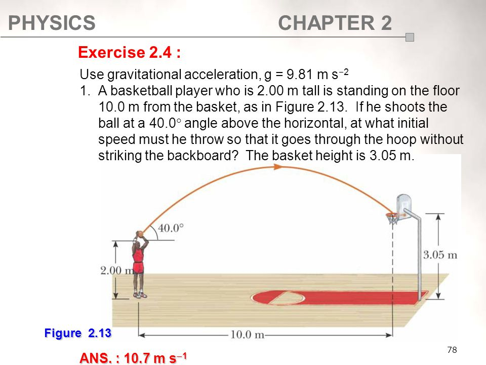 Exercise 2.4 : Use gravitational acceleration, g = 9.81 m s2