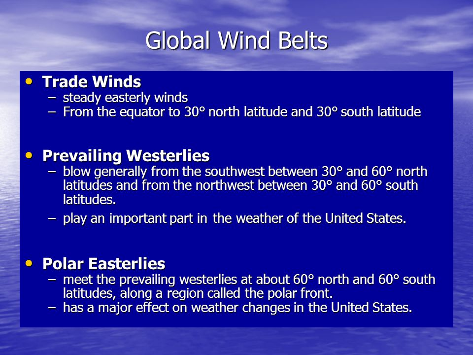 Global Wind Belts Trade Winds Prevailing Westerlies Polar Easterlies