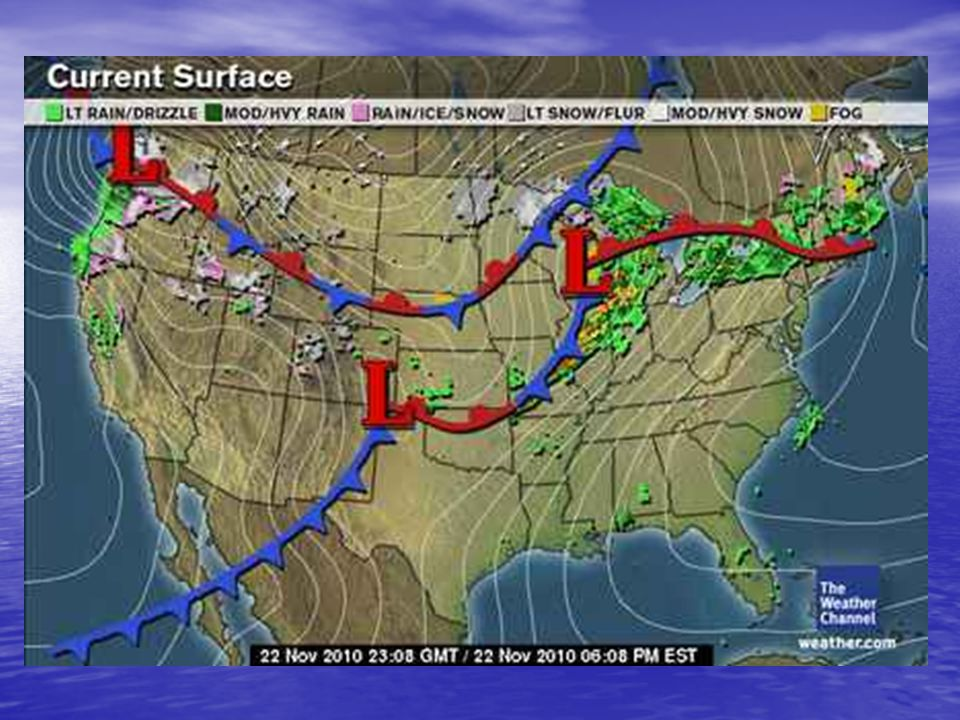 Point out parts of weather map