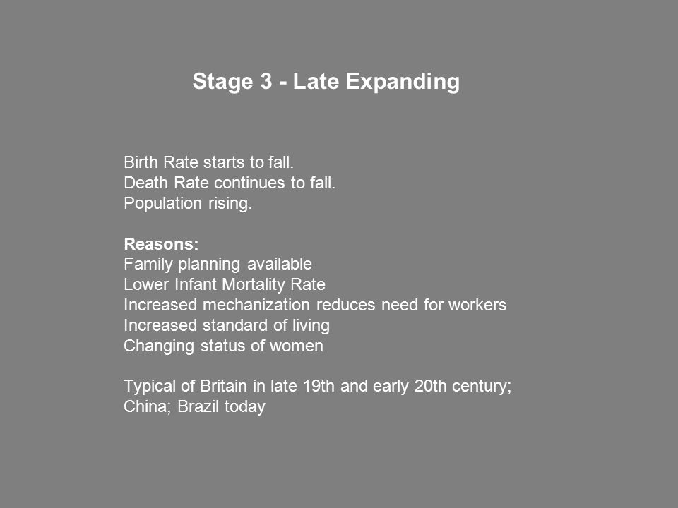 Stage 3 - Late Expanding Birth Rate starts to fall.