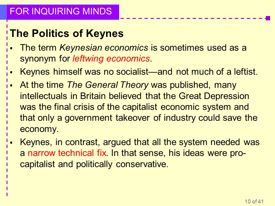 The Politics of Keynes The term Keynesian economics is sometimes used as a synonym for leftwing economics.
