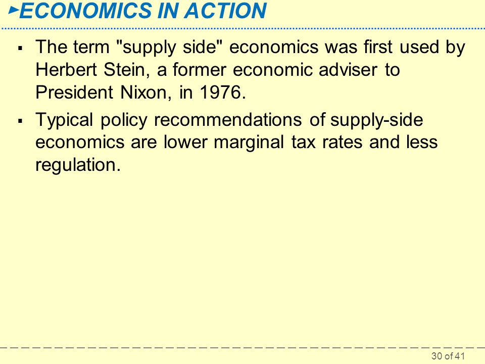 The term supply side economics was first used by Herbert Stein, a former economic adviser to President Nixon, in 1976.