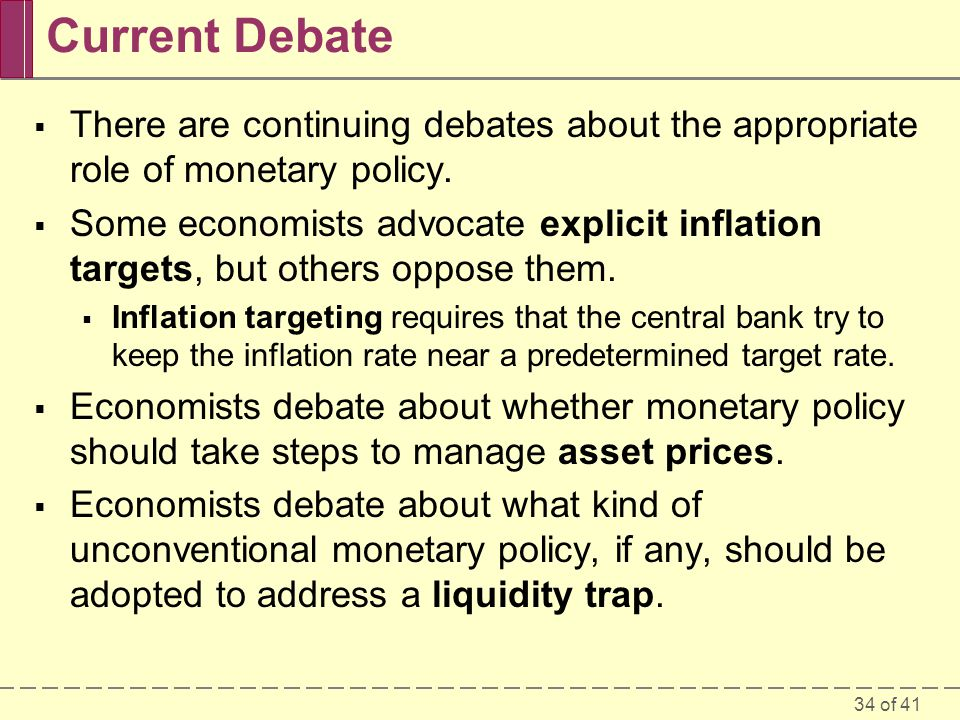 Current Debate There are continuing debates about the appropriate role of monetary policy.