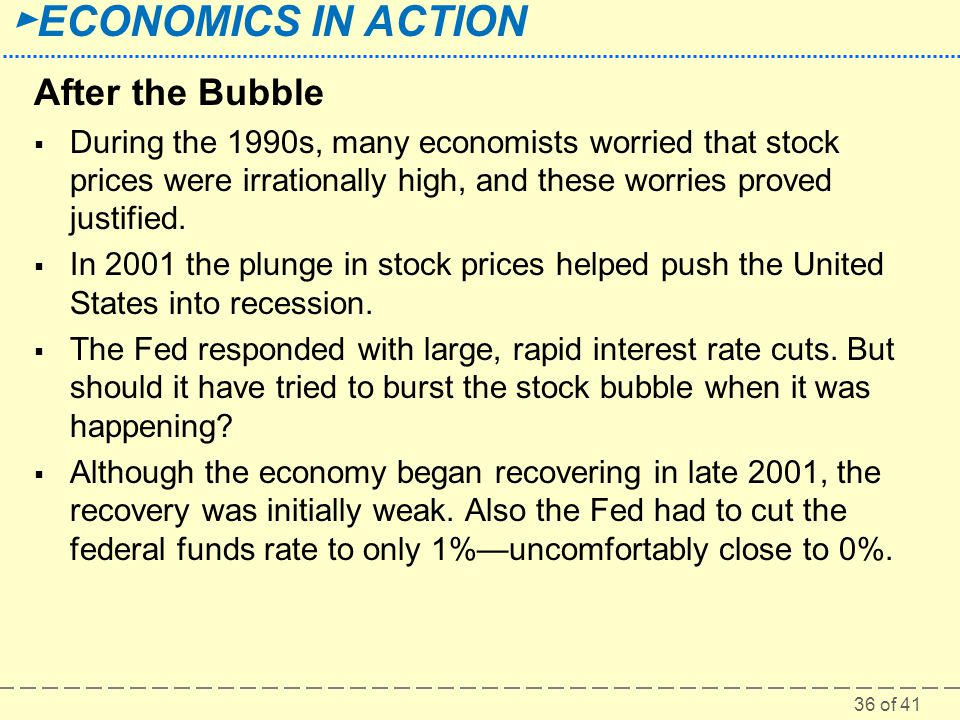 After the Bubble During the 1990s, many economists worried that stock prices were irrationally high, and these worries proved justified.