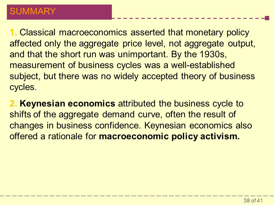 1. Classical macroeconomics asserted that monetary policy affected only the aggregate price level, not aggregate output, and that the short run was unimportant. By the 1930s, measurement of business cycles was a well-established subject, but there was no widely accepted theory of business cycles.