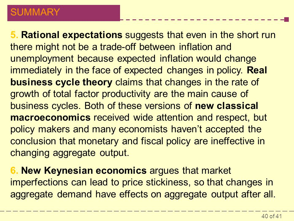 5. Rational expectations suggests that even in the short run there might not be a trade-off between inflation and unemployment because expected inflation would change immediately in the face of expected changes in policy. Real business cycle theory claims that changes in the rate of growth of total factor productivity are the main cause of business cycles. Both of these versions of new classical macroeconomics received wide attention and respect, but policy makers and many economists haven't accepted the conclusion that monetary and fiscal policy are ineffective in changing aggregate output.