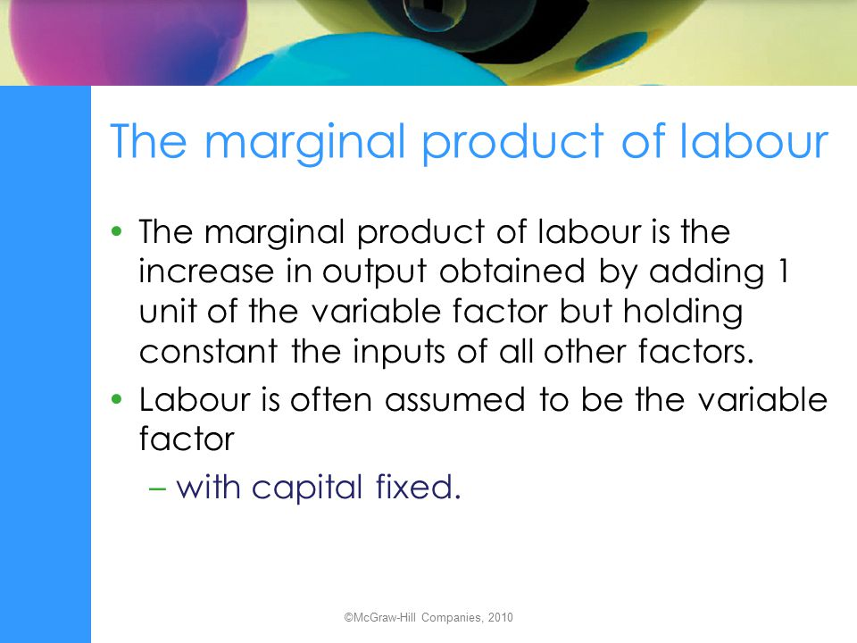 The marginal product of labour
