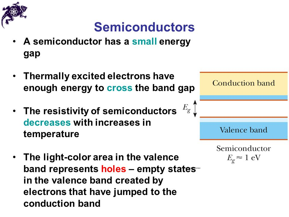 Semiconductors A semiconductor has a small energy gap
