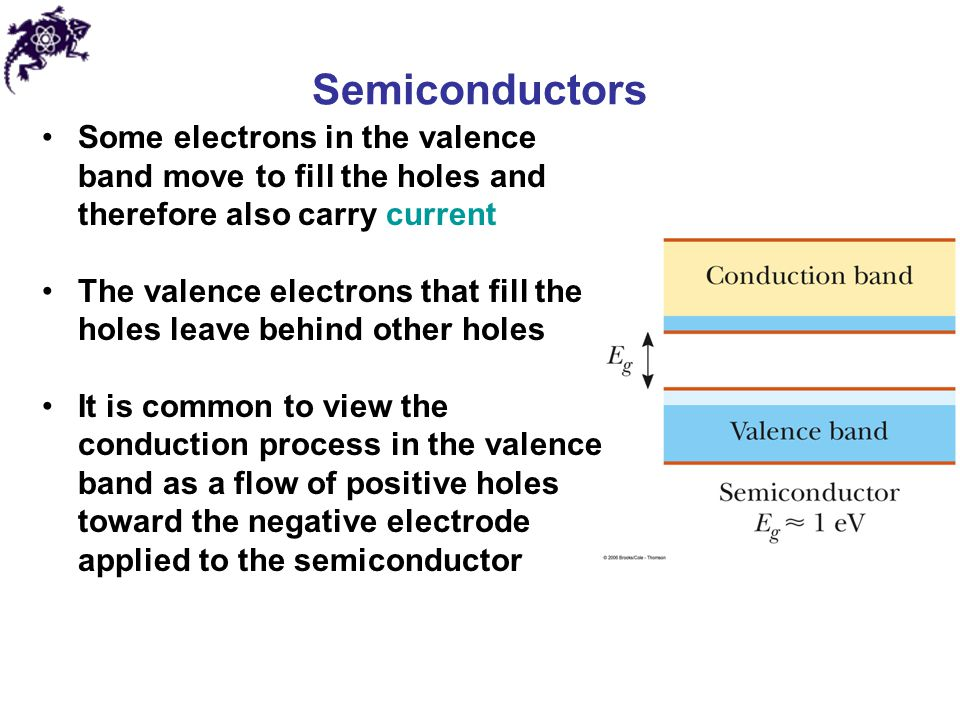 Semiconductors Some electrons in the valence band move to fill the holes and therefore also carry current.