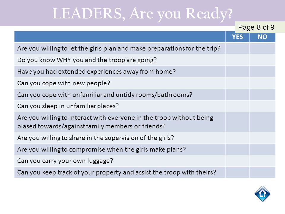 LEADERS, Are you Ready Page 8 of 9 YES NO