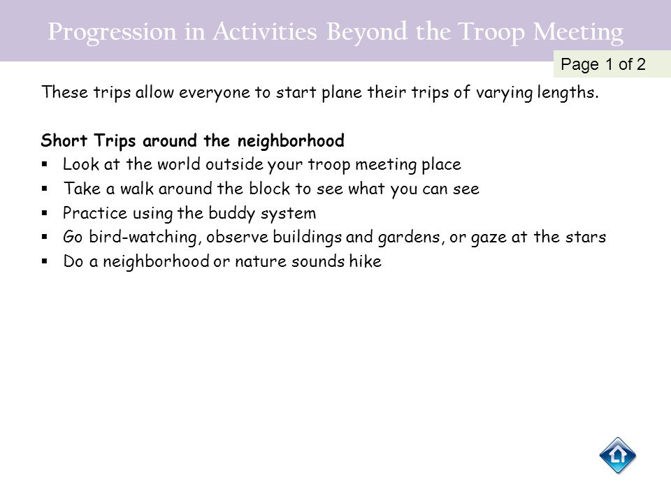 Progression in Activities Beyond the Troop Meeting