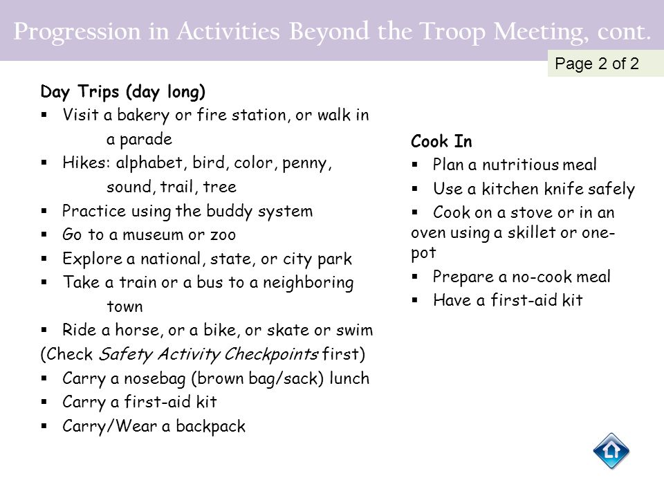 Progression in Activities Beyond the Troop Meeting, cont.