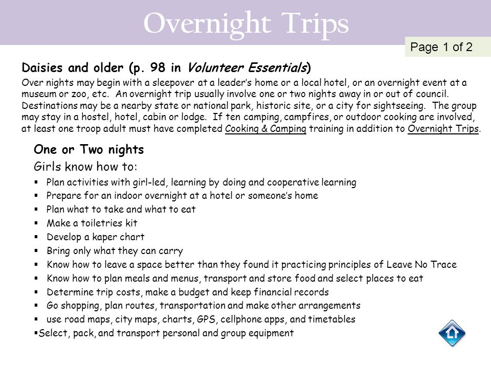 Overnight Trips Page 1 of 2