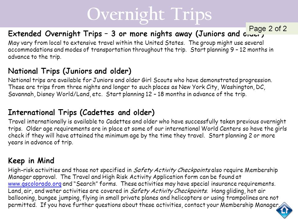 Overnight Trips Page 2 of 2