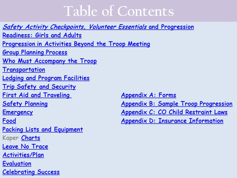 Table of Contents Safety Activity Checkpoints, Volunteer Essentials and Progression. Readiness: Girls and Adults.