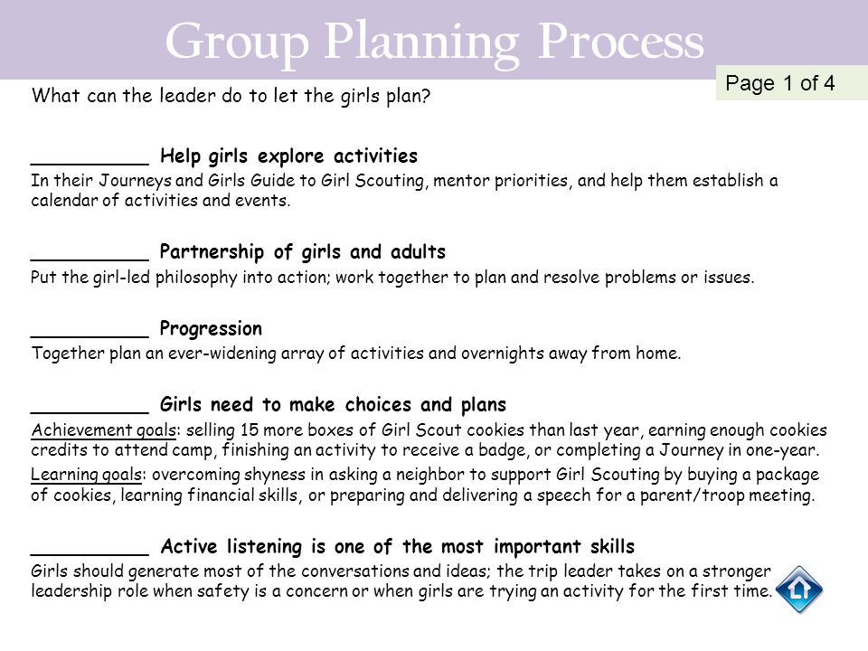 Group Planning Process