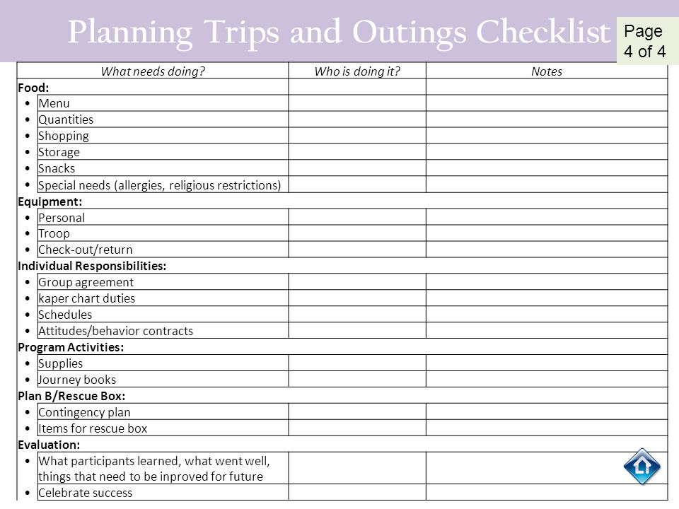 Planning Trips and Outings Checklist