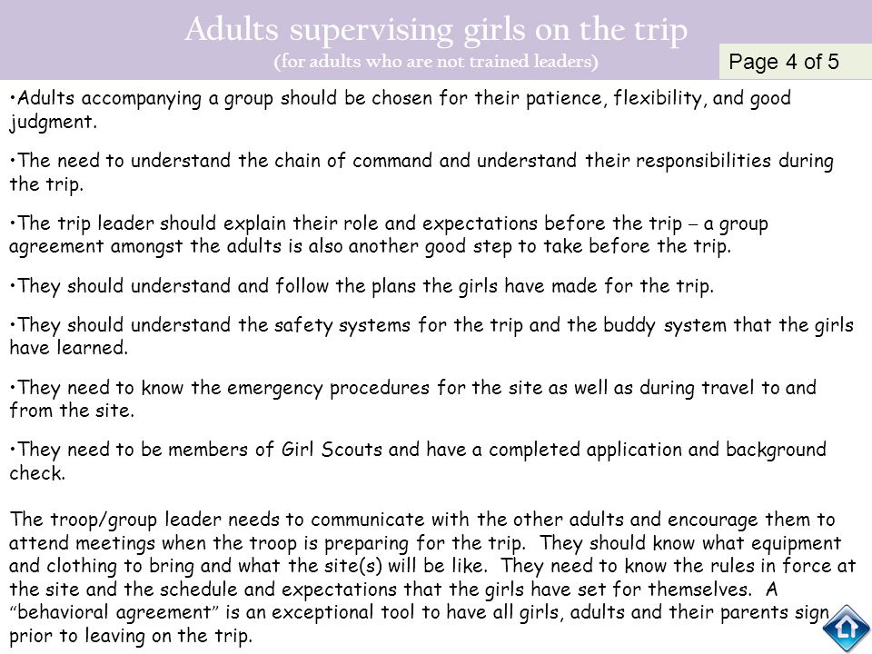 Adults supervising girls on the trip (for adults who are not trained leaders)