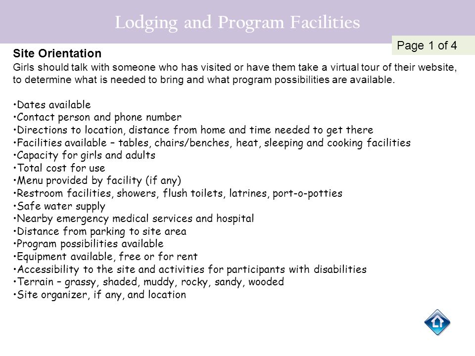 Lodging and Program Facilities