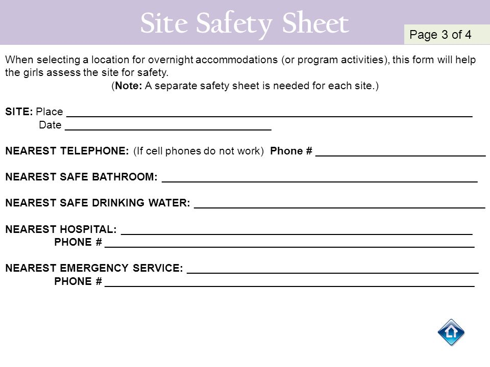 (Note: A separate safety sheet is needed for each site.)